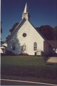 McBride Methodist Church, Camden County, North Carolina. The church is located near William Spence's property. We visited this church in May 1998.