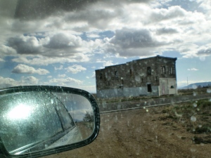 Shell of an old ghost in San Acacio. It started to rain.