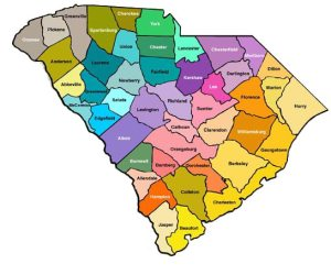 Modern South Carolina County Map. Greenville County is on the northern border