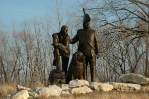 Lewis & Clark Statue, St. Charles, Missouri--along the River. (I've had this in my files for a number of years. No information about original source.)