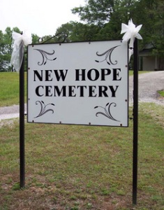 New Hope Methodist Church Cemetery Sign, Weakley County, Tennessee. Photo from Find-a-Grave.com