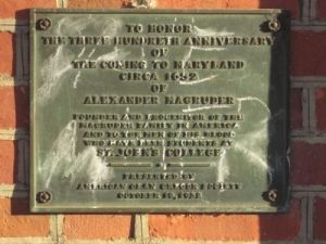 Marker is in Annapolis, Maryland, in Anne Arundel County. Marker can be reached from the intersection of College Avenue (Maryland Route 450) and Prince George Street, on the left when traveling east. Click for map. Marker is a To honor the three hundredth anniversary of the coming to Maryland circa 1652 of Alexander Magruder, founder and progenitor of the Magruder family in America, and to the men of his blood who have been students at St. John's College.
