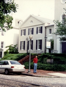 St. John's Church, Washington DC with Howard standing in front of it. Taken Summer 1992