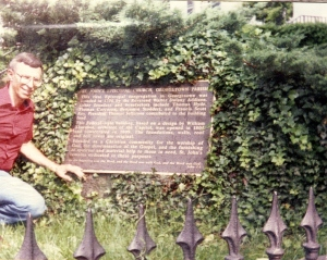 Original site of the Ninian Beall Plaque, St. John's Church, Washington, DC. Photo Taken Summer 1992