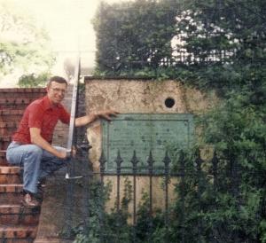 Ninian Beall plaque on the side of St. John's Church, Washington DC. Photo taken Summer 1992