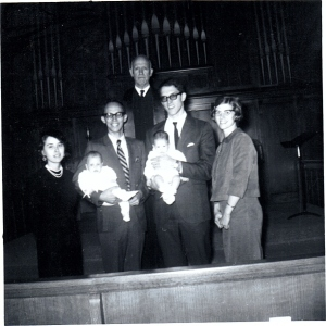 Brian and cousin Kari Jo's baptism, November 1968, Farmington Presbyterian Church, Farmington, Missouri. Their grandfather, Rev. Edward L. Beall, performed the baptism. Kari Jo is the daughter of Howard's brother, and Prince's wife Cleone.