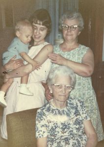 Four generation photo: my maternal grandmother Oda Elizabeth Hopper Spence (1894-1981); my mother Elva Gail Spence Inman (1917-2003); Brian and me