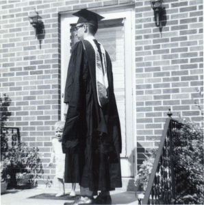 Howard and Brian on the porch of his parents home, Auburn, Kentucky the day he graduated from Western Kentucky University.