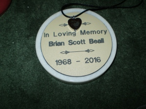 Brian's Memorial Stone with my necklace